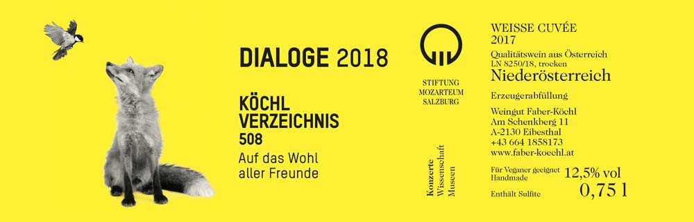 Das Etikett für den Dialoge-Wein