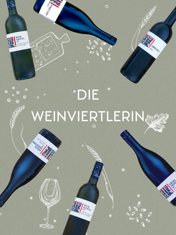 """Foto-Montage mit 6 Flaschen vom Weingut Faber-Köchl und der Aufschrift """"Die Weinviertlerin"""""""