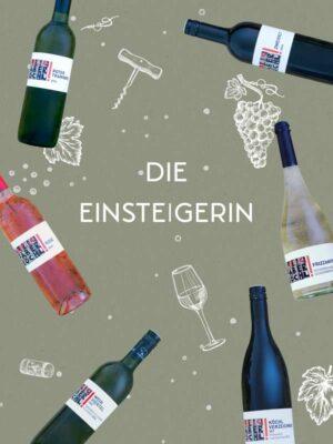 """Foto-Montage mit 6 Wein-Flaschen auf grünem Hintergrund und Schriftzug """"Die Einsteigerin"""""""