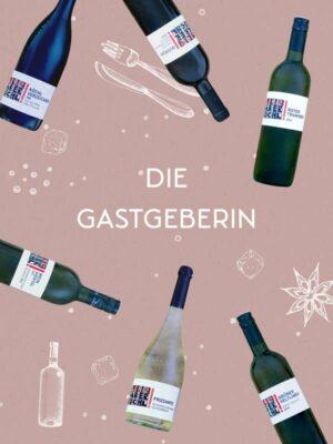 """Foto-Montage mit 6 Wein-Flaschen auf rotem Hintergrund und Schriftzug """"Die Gastgeberin"""""""