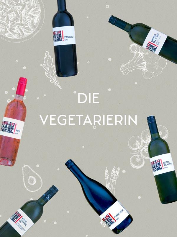 """Foto-Montage mit 6 Weinflaschen und Schriftzug """"Die Vegetarierin"""""""