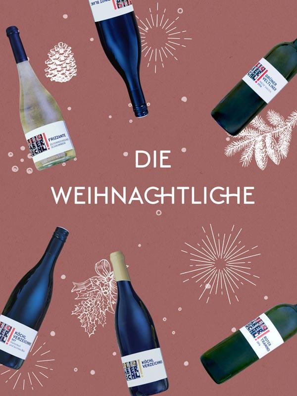 """Foto-Montage mit 6 Wein-Flaschen auf rotem Hintergrund und Schriftzug """"Die Weihnachtliche"""""""