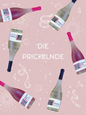 Bild-Collage mit 3 Flaschen Frizzante Weiß und 3 Flaschen Frizzante Rosè